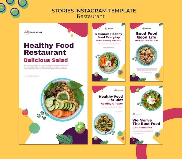 Verhalen op sociale media van restaurants Premium Psd