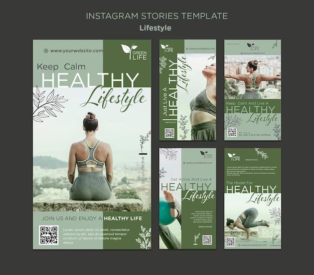 Verhalen over een gezonde levensstijl op sociale media Premium Psd