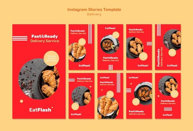 Verhalen over voedselbezorging op sociale media Gratis Psd