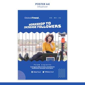 Verhoog het aantal volgers-postersjabloon