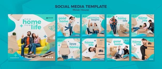 Verhuis concept sociale mediasjabloon