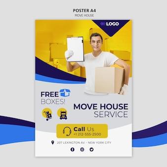 Verhuis huis zakelijke sjabloon flyer
