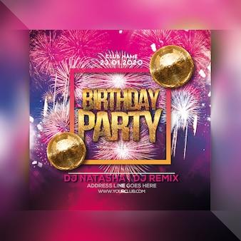 Verjaardag bash party flyer