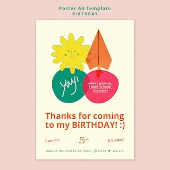 Verjaardag bedankt poster sjabloon