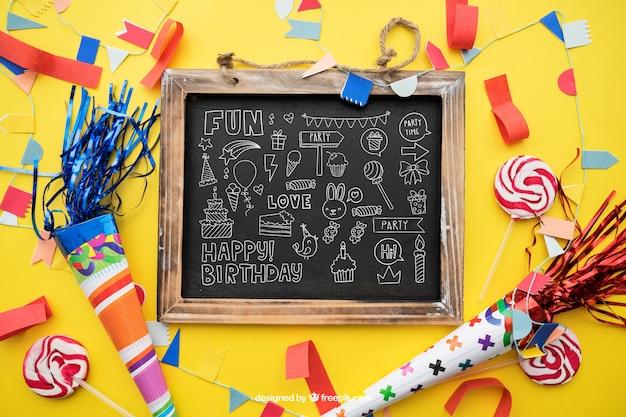 Verjaardag concept leisteen en kegels