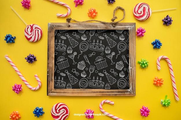 Verjaardag concept met lolly en snoep