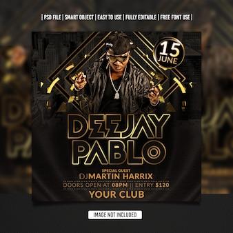 Verjaardag dj party flyer social media postsjabloon premium psd