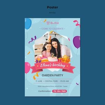 Verjaardag partij poster sjabloon