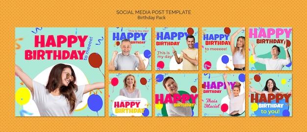 Verjaardag sociale media postsjabloon