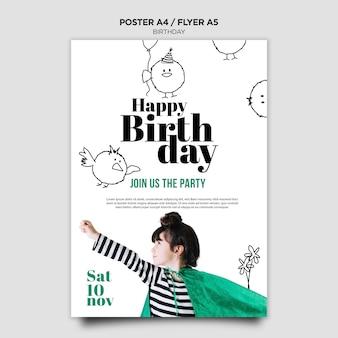 Verjaardag uitnodiging flyer sjabloon
