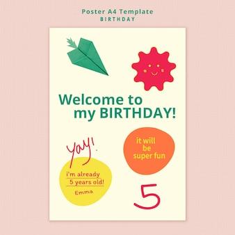 Verjaardag uitnodiging poster sjabloon