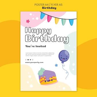 Verjaardag viering poster sjabloon