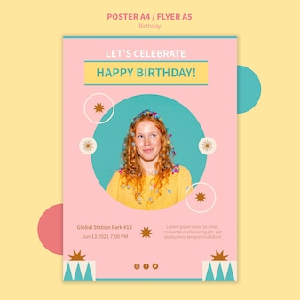 Verjaardag viering sjabloon folder