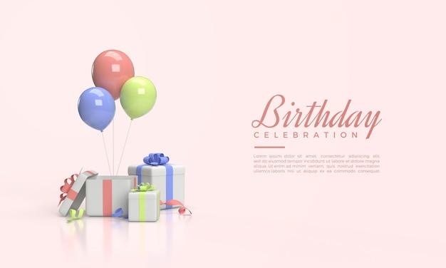 Verjaardag viering sjabloon met 3d-gerenderde geschenkdoos illustratie