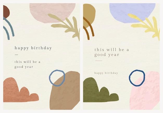 Verjaardag wenskaartsjabloon psd met botanische memphis patroonset