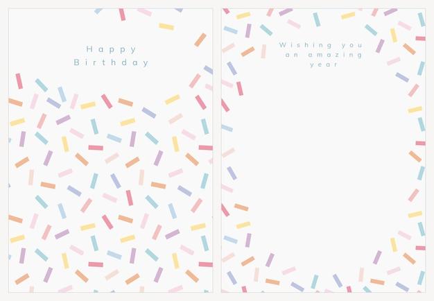 Verjaardag wenskaartsjabloon psd met confetti strooi set