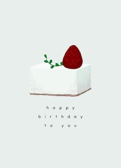 Verjaardag wenskaartsjabloon psd met schattige taartillustratie