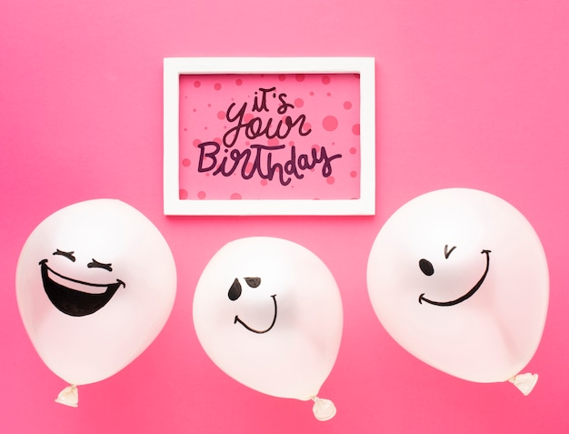 Verjaardagsballons met wit kader