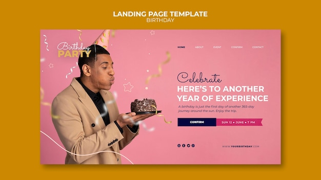 Verjaardagsfeestje bestemmingspagina websjabloon Gratis Psd