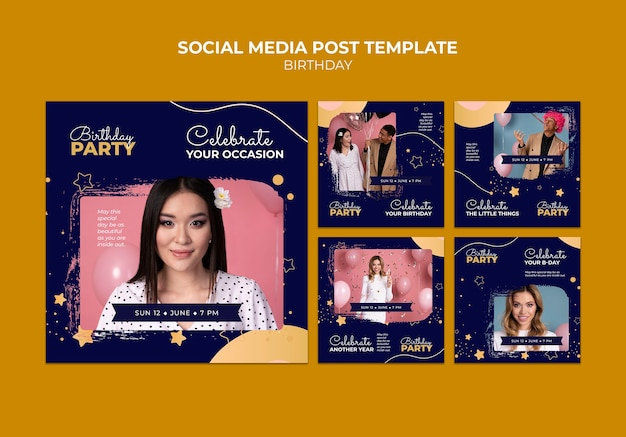 Verjaardagsfeestje sociale media post-sjabloon