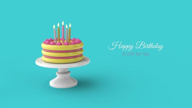 Verjaardagstaart en kaars. verjaardag wenskaartsjabloon. 3d-afbeelding