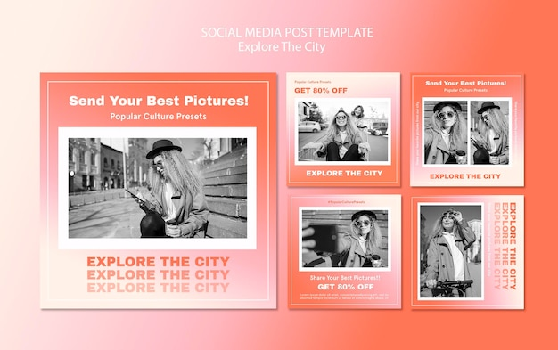 Verken de instagram-postsjabloon van de stad