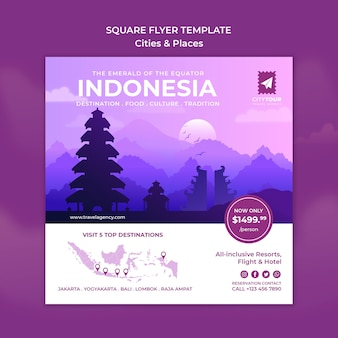 Verken indonesië vierkante flyer-sjabloon
