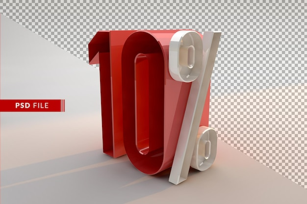 Verkoop 10 procent korting op promotionele 3d geïsoleerde concept