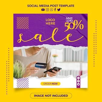 Verkoop banner moderne papieren sociale media