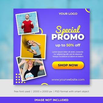 Verkoop vierkante banner met afbeelding