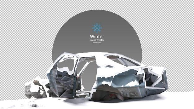 Verlaten autowrak bedekt met sneeuw uitknippad