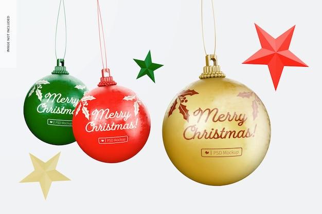 Verontruste kerstballen mockup, hangend