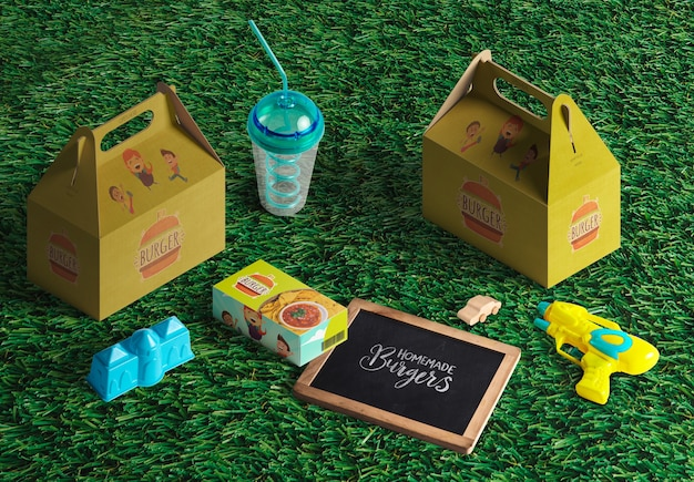Verpakkingen voor hamburgers of fastfood voor kinderen