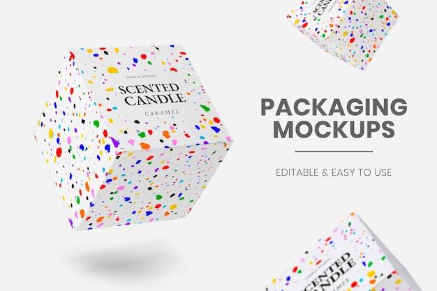 Verpakkingsmodel psd met kleurrijke krijtkunst