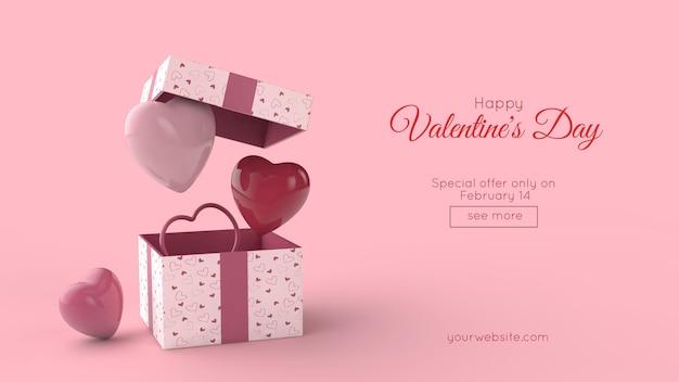 Verrassingsdoos en vliegende rode en roze harten in 3d illustratie