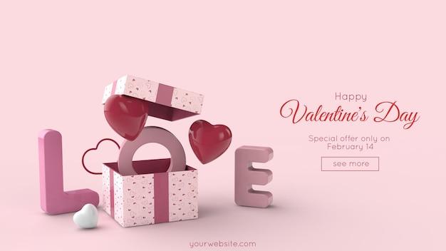 Verrassingsdoos, vliegende rode en roze harten, liefde belettering. valentijnsdag 3d illustratie