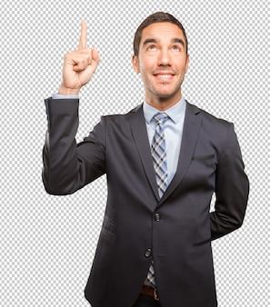 Verraste jonge zakenman die benadrukt