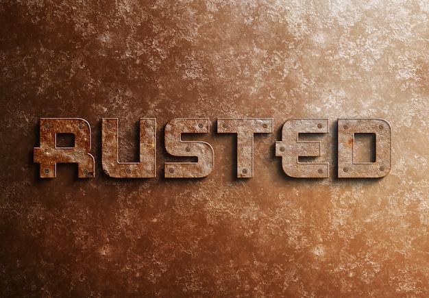 Verroeste metalen 3d-teksteffect mockup