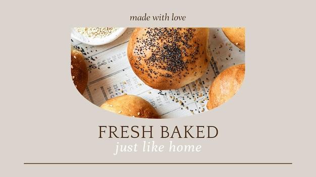Vers gebakken psd-presentatiesjabloon voor bakkerij- en cafémarketing