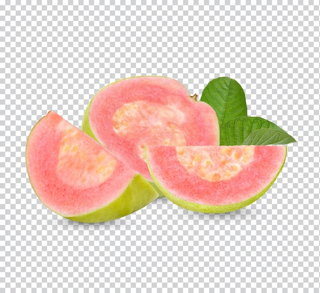 Vers guavefruit met geïsoleerde bladeren premium psd