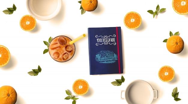 Vers oranje en notebook mockup