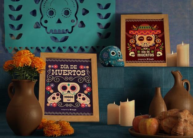 Verscheidenheid aan kleuren en ontwerpen voor dia de muertos mock-ups