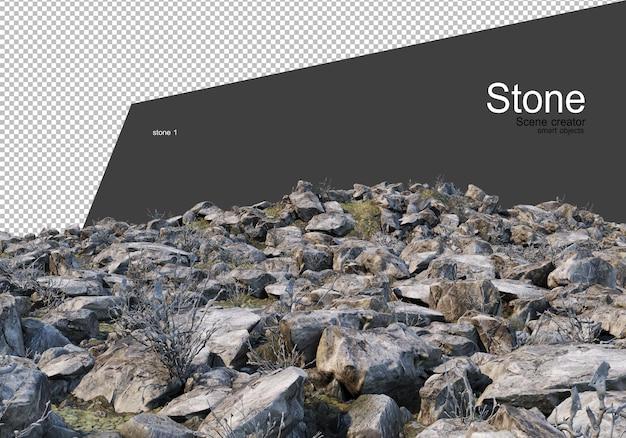 Verscheidenheid aan rotsformaties op de grond