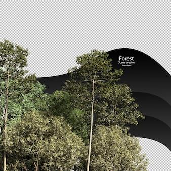 Verscheidenheid bomen uitknippad bomen geïsoleerde 3d-boom rendering