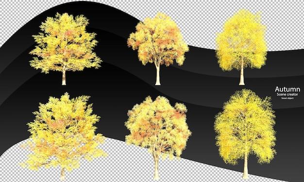 Verschillende herfstboom uitknippad herfstbomen geïsoleerd