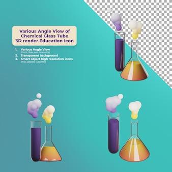Verschillende hoekweergave chemische glazen buis 3d render onderwijspictogram