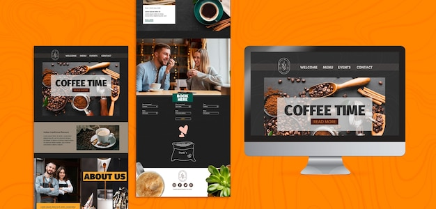 Verschillende koffietijd sjablonen en scherm