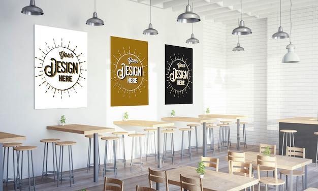 Verschillende posters op mockup van de restaurantmuur