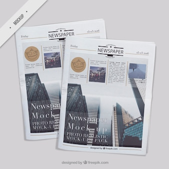 Verschillende realistische krant mockups