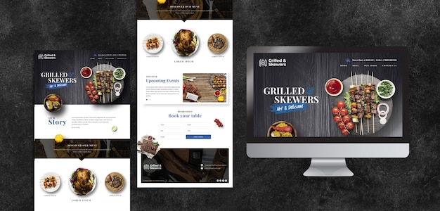 Verschillende sjablonen voor humeurig eten restaurant met scherm